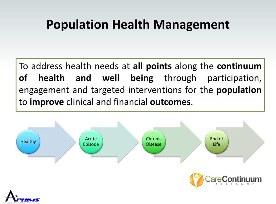 engagement and targeted interventions for the population to improve
