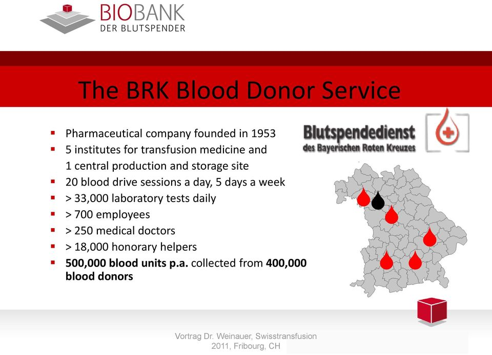 33,000 laboratory tests daily > 700 employees > 250 medical doctors > 18,000 honorary helpers 500,000