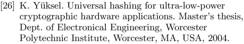 cryptographic hardware applications.