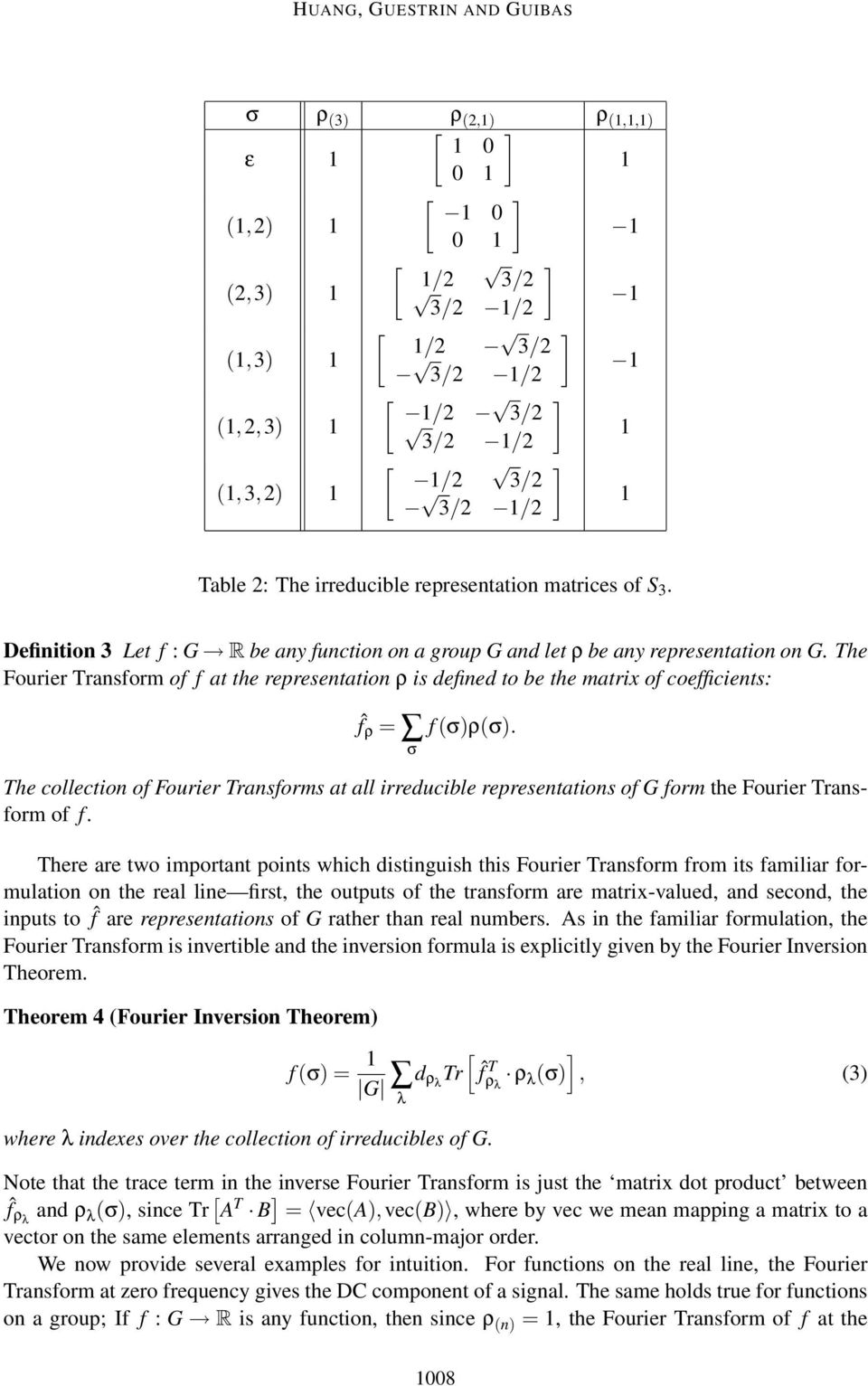 The Fourier Transform of f at the representation ρ is defined to be the matrix of coefficients: ˆf ρ = σ f(σ)ρ(σ).