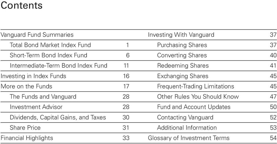 17 Frequent-Trading Limitations 45 The Funds and Vanguard 28 Other Rules You Should Know 47 Investment Advisor 28 Fund and Account Updates 50
