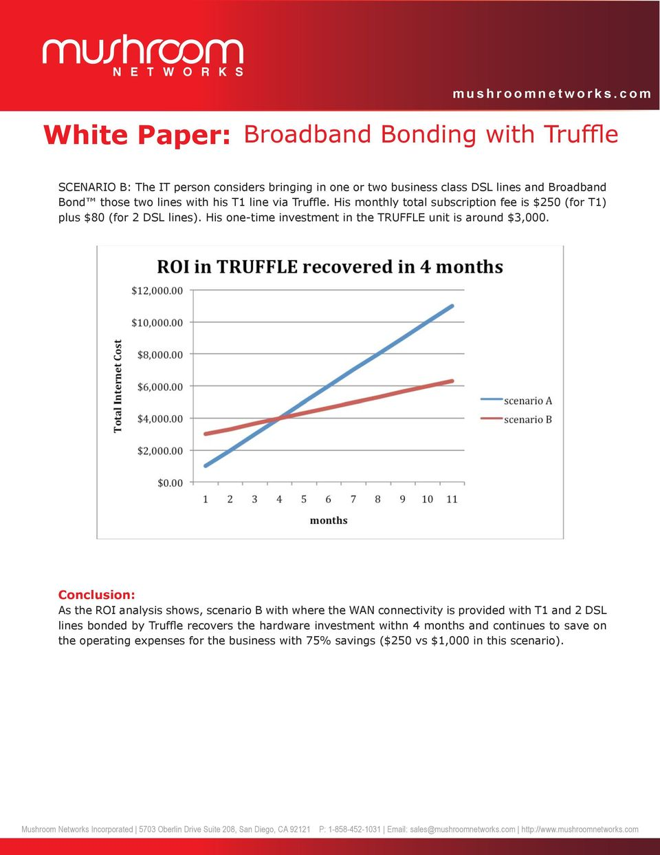 Conclusion: As the ROI analysis shows, scenario B with where the WAN connectivity is provided with T1 and 2 DSL lines bonded by Truffle recovers