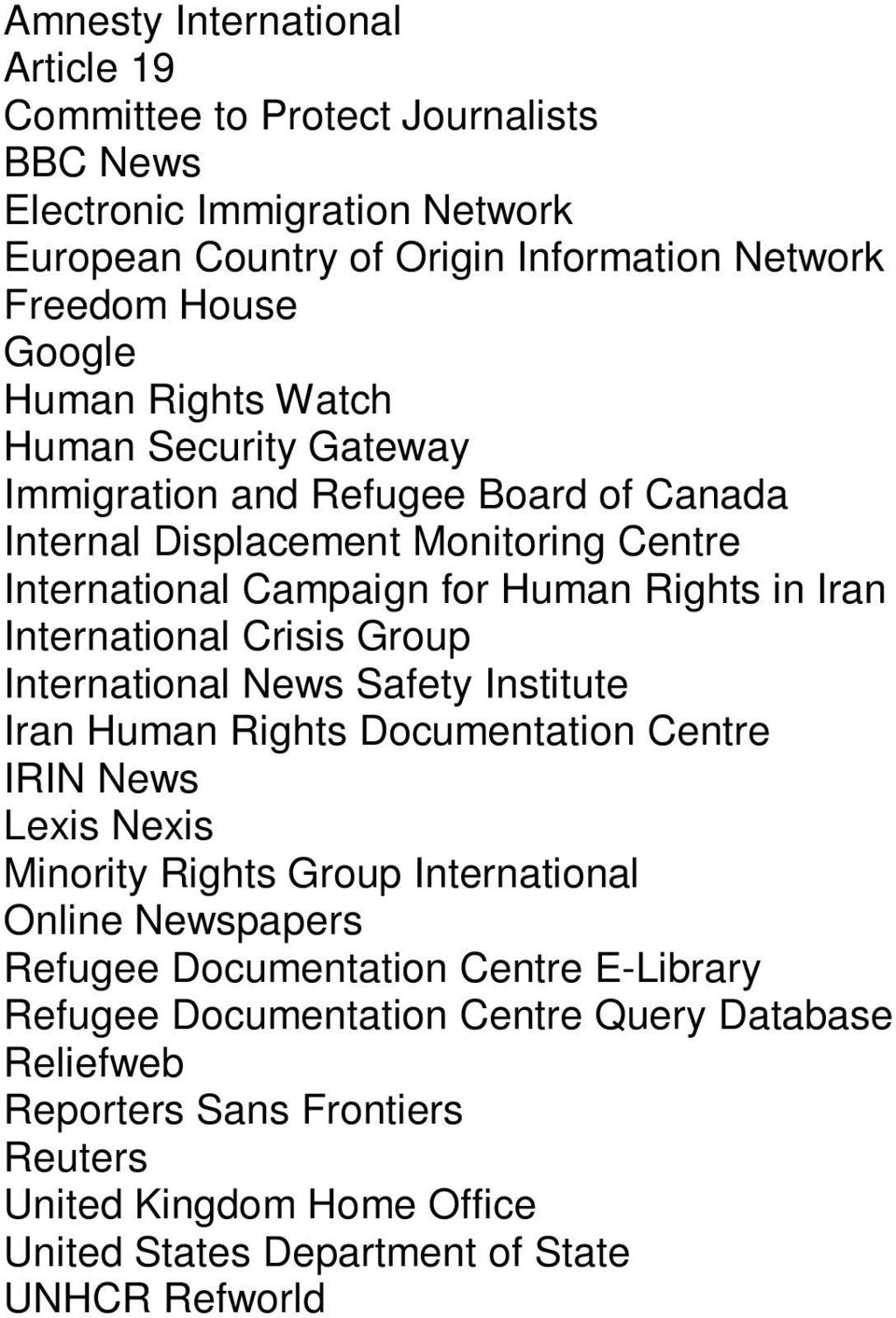 Crisis Group International News Safety Institute Iran Human Rights Documentation Centre IRIN News Lexis Nexis Minority Rights Group International Online Newspapers Refugee