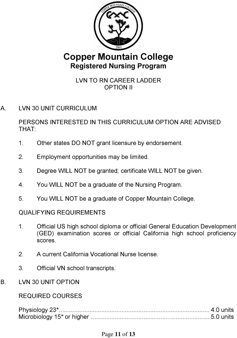 You WILL NOT be a graduate of the Nursing Program. 5. You WILL NOT be a graduate of Copper Mountain College. QUALIFYING REQUIREMENTS 1.