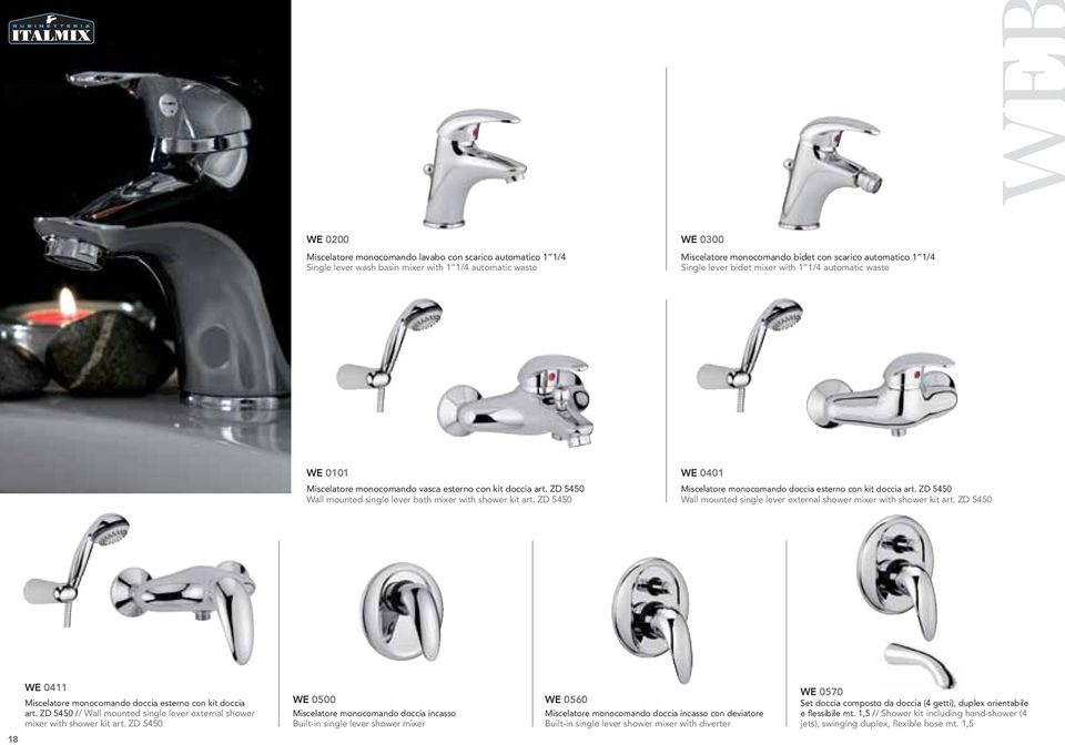 ZD 5450 Miscelatore monocomando doccia esterno con kit doccia art. ZD 5450 Wall mounted single lever external shower mixer with shower kit art.