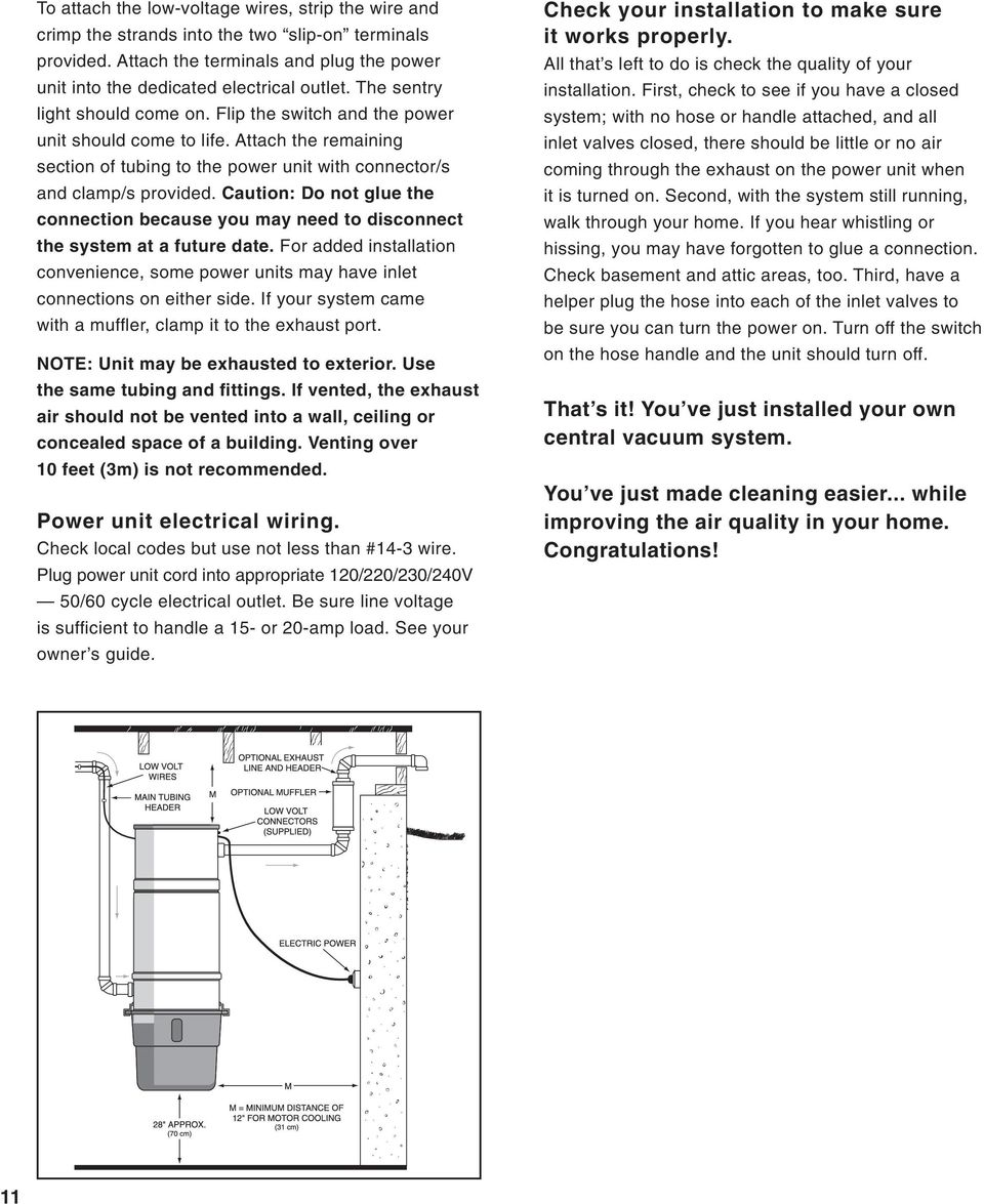Typical Central Vacuum System Installations Pdf Low Voltage Wiring Guide Caution Do Not Glue The Connection Because You May Need To Disconnect At