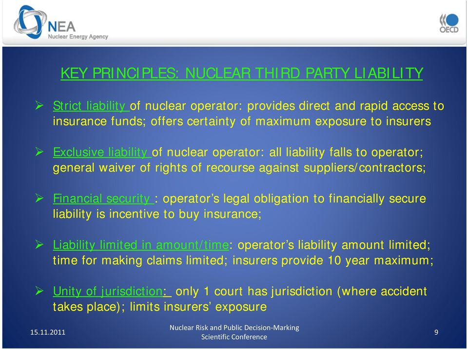operator s legal obligation to financially secure liability is incentive e to buy insurance; Liability limited in amount/time: operator s liability amount limited; time for