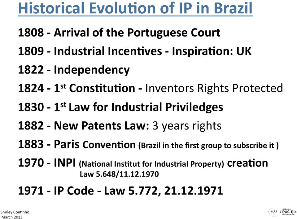 Priviledges 1882 New Patents Law: 3 years rights 1883 Paris Conven9on (Brazil in the first group to subscribe