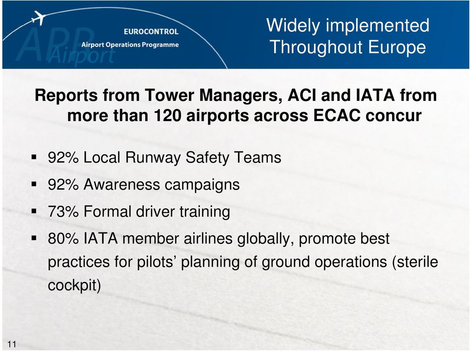 Awareness campaigns 73% Formal driver training 80% IATA member airlines globally,