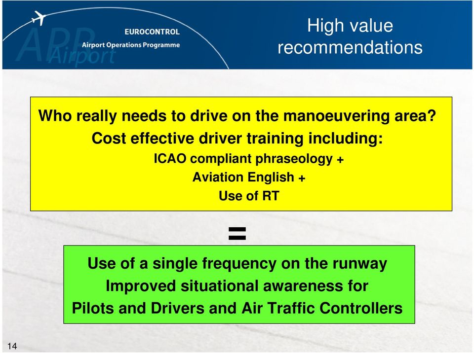 Aviation English + Use of RT = Use of a single frequency on the runway