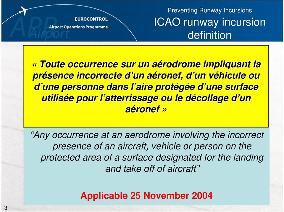 ou le décollage d un aéronef» Any occurrence at an aerodrome involving the incorrect presence of an aircraft, vehicle or