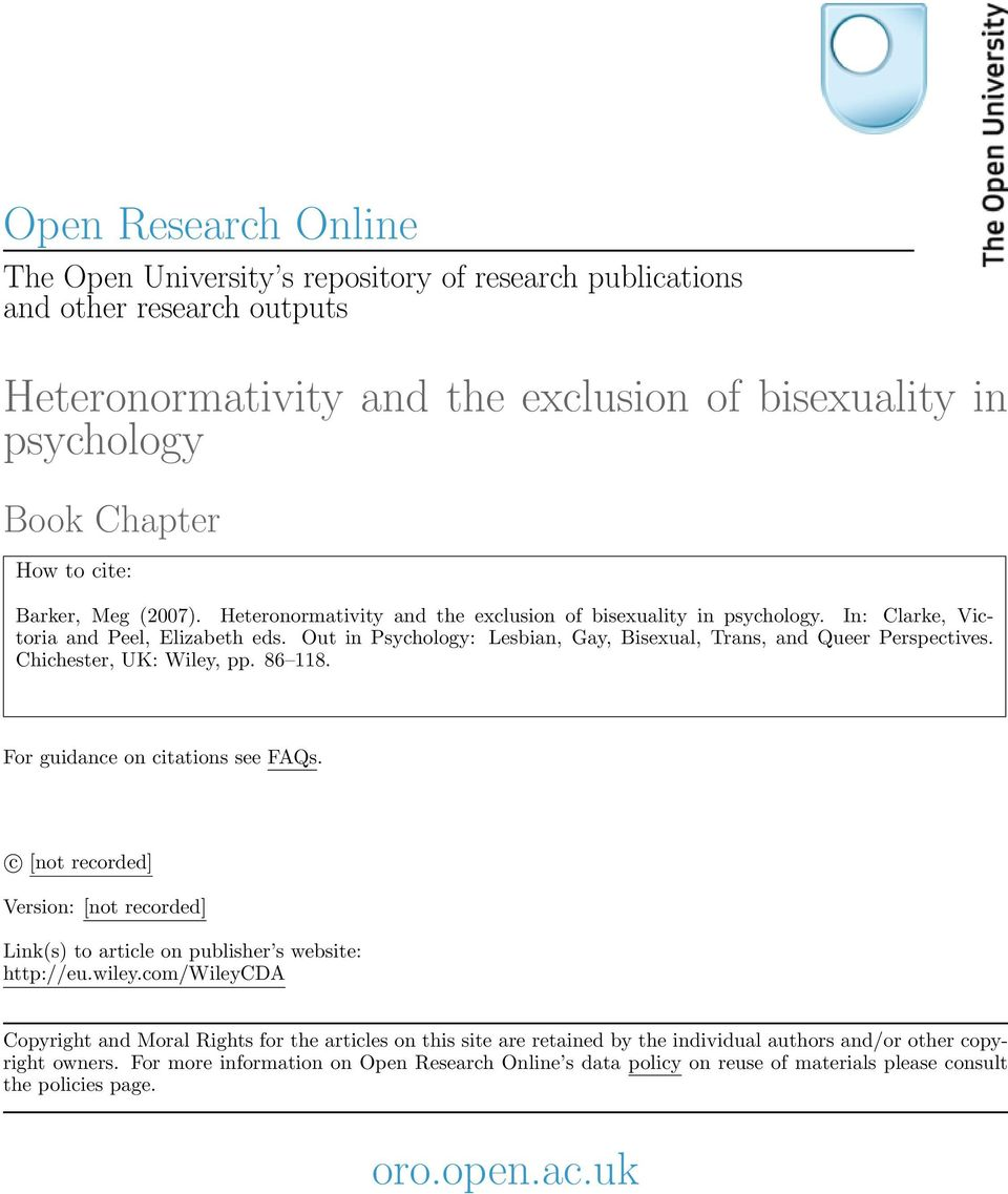 Out in Psychology: Lesbian, Gay, Bisexual, Trans, and Queer Perspectives. Chichester, UK: Wiley, pp. 86 118. For guidance on citations see FAQs.