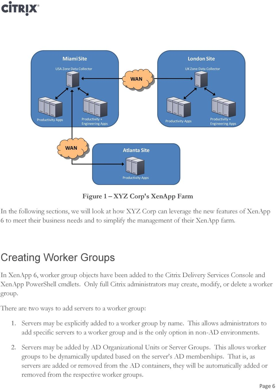 management of their XenApp farm. Creating Worker Groups In XenApp 6, worker group objects have been added to the Citrix Delivery Services Console and XenApp PowerShell cmdlets.