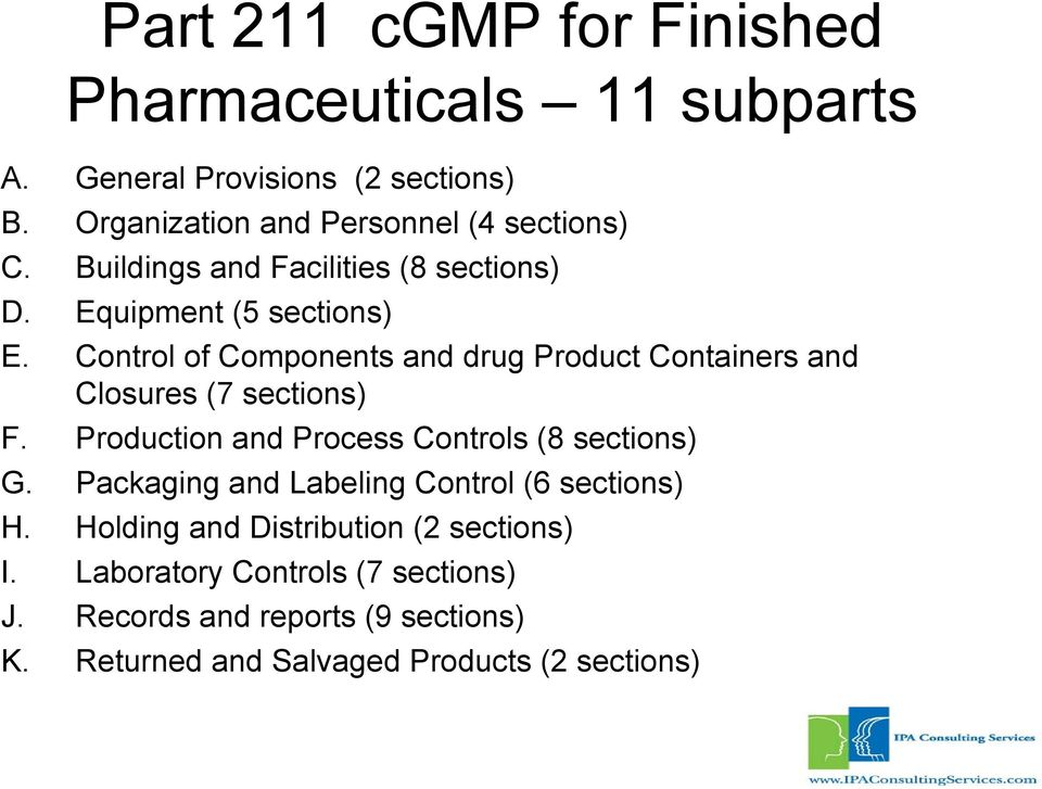 Control of Components and drug Product Containers and Closures (7 sections) F. Production and Process Controls (8 sections) G.