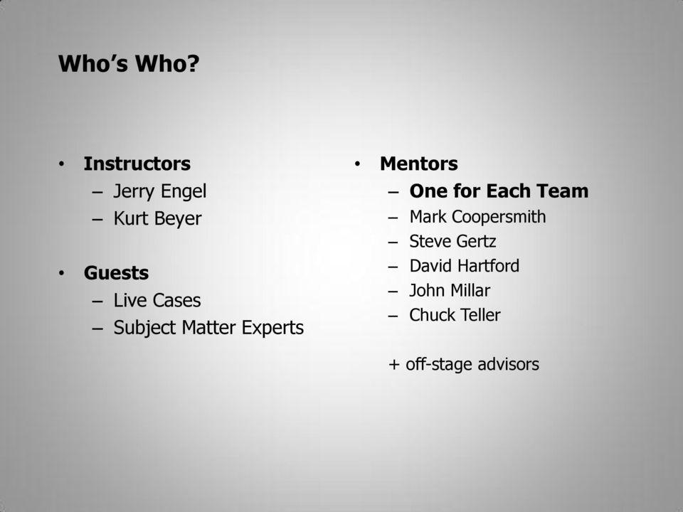 Cases Subject Matter Experts Mentors One for Each