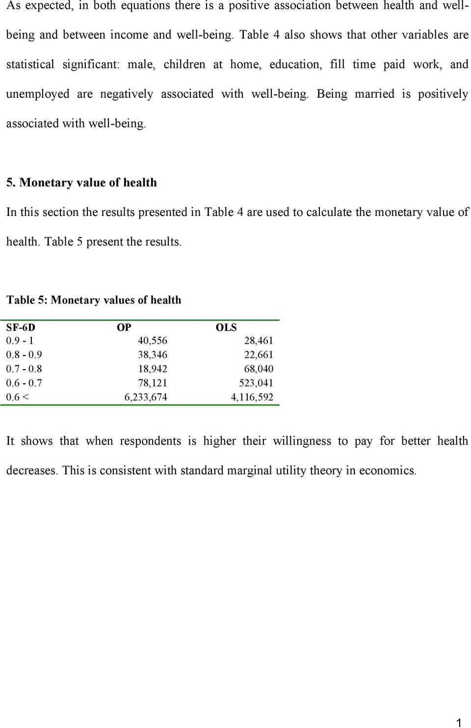 Being married is positively associated with well-being. 5. Monetary value of health In this section the results presented in Table 4 are used to calculate the monetary value of health.