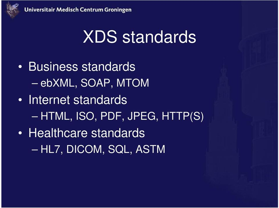 standards HTML, ISO, PDF, JPEG,