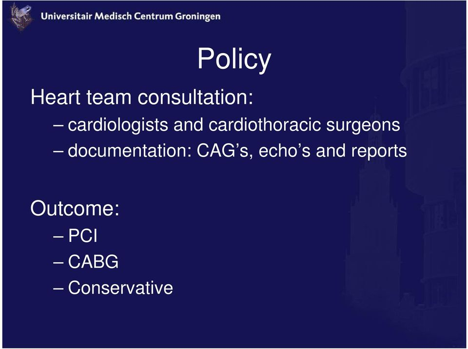 surgeons documentation: CAG s, echo