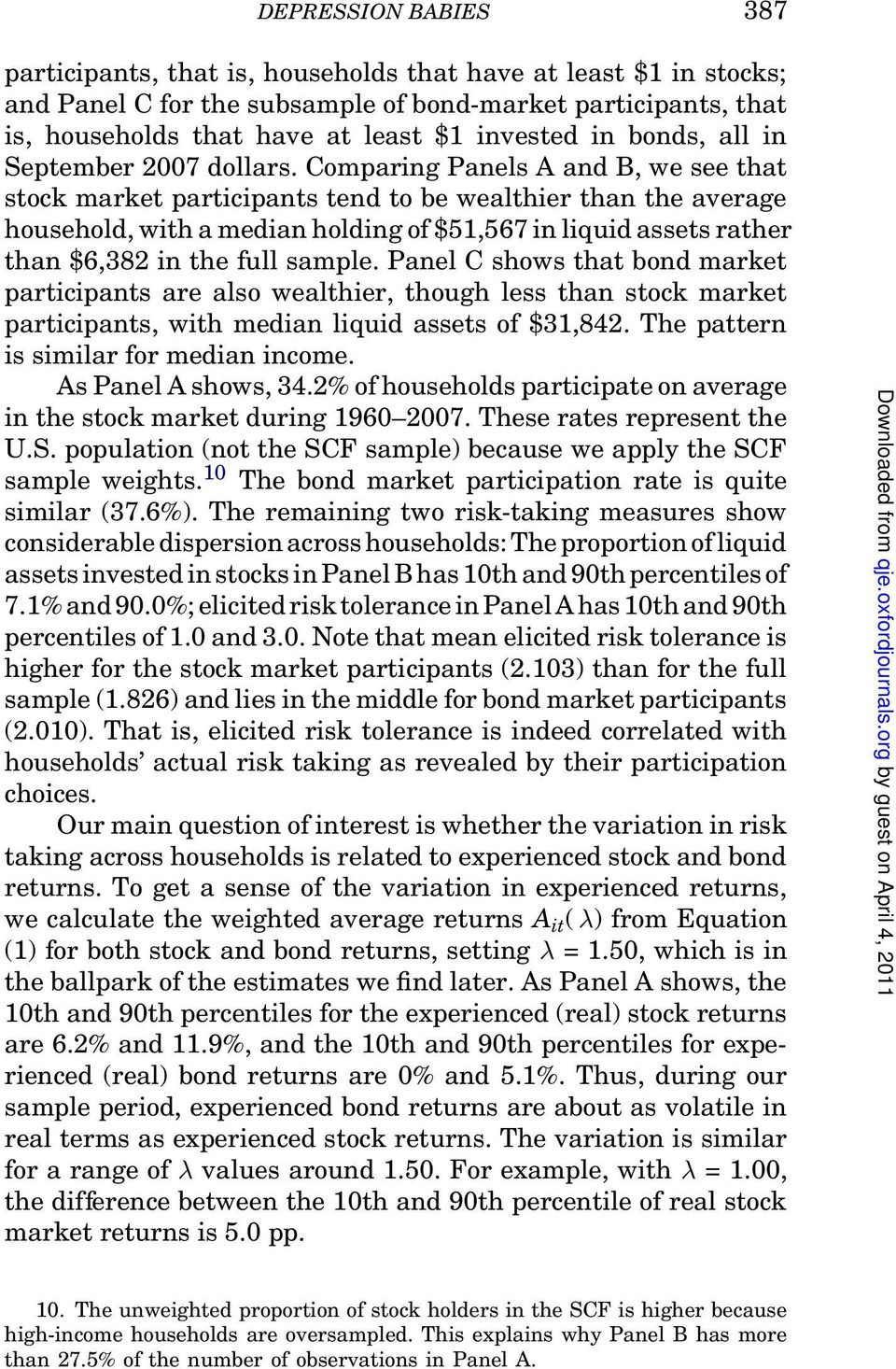 Comparing Panels A and B, we see that stock market participants tend to be wealthier than the average household, with a median holding of $51,567 in liquidassets rather than $6,382 in the full sample.