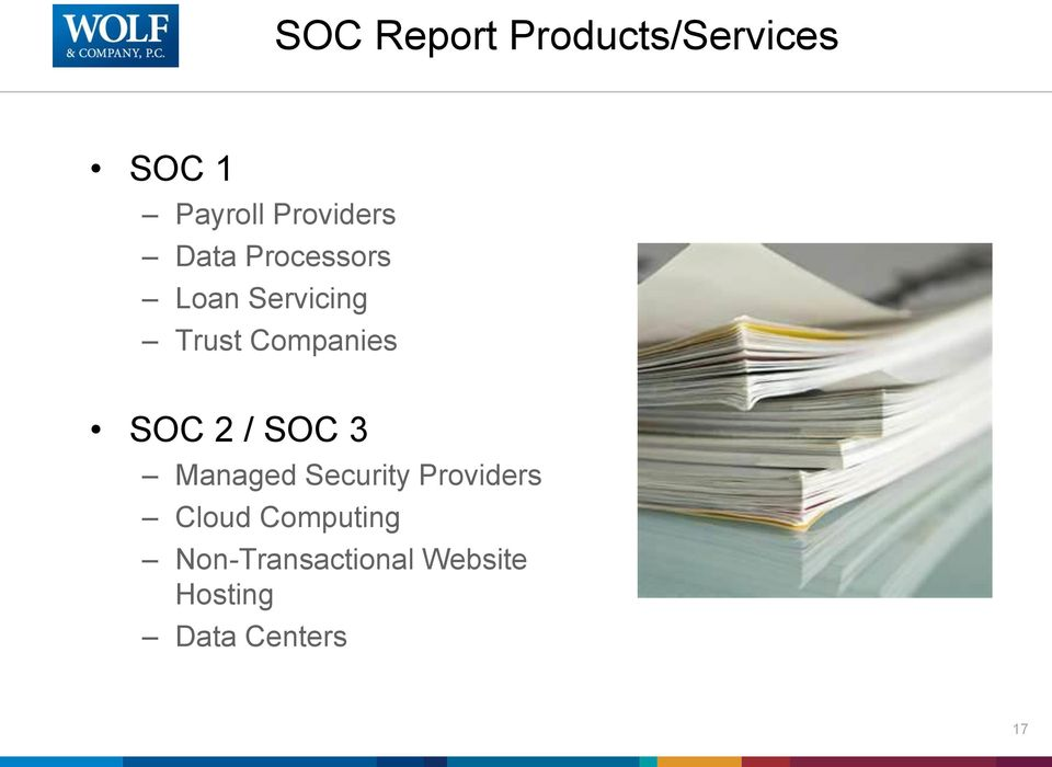 Companies SOC 2 / SOC 3 Managed Security Providers