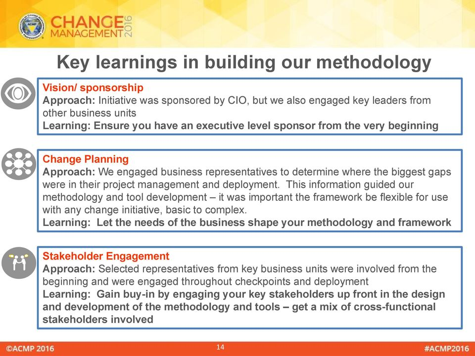 This information guided our methodology and tool development it was important the framework be flexible for use with any change initiative, basic to complex.