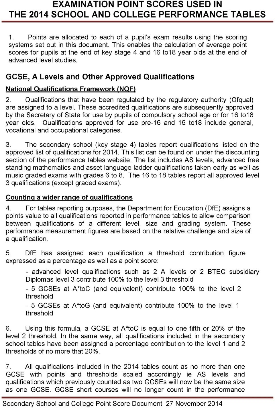 GCSE, A Levels and Other Approved Qualifications National Qualifications Framework (NQF) 2. Qualifications that have been regulated by the regulatory authority (Ofqual) are assigned to a level.