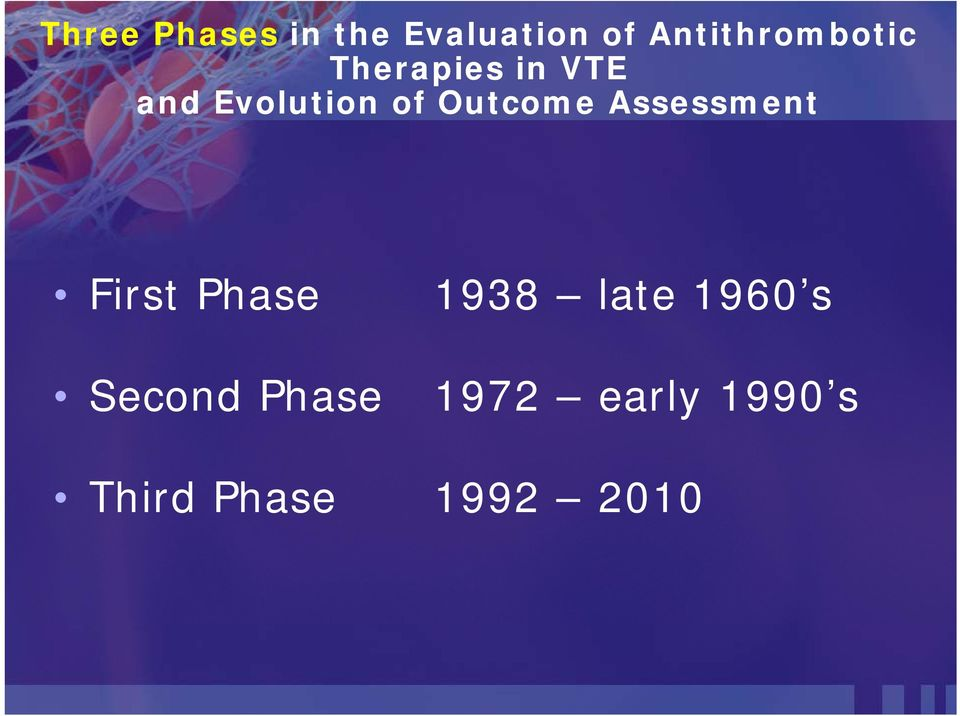 of Outcome Assessment First Phase 1938 late