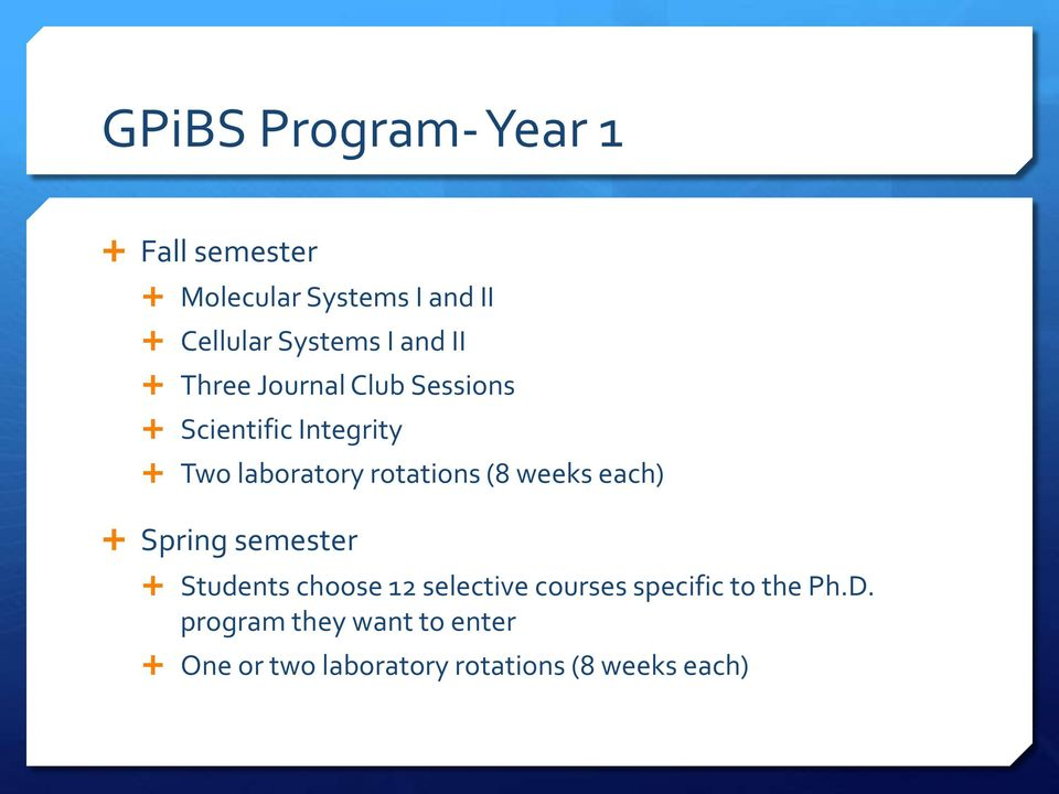 (8 weeks each) Spring semester Students choose 12 selective courses specific to