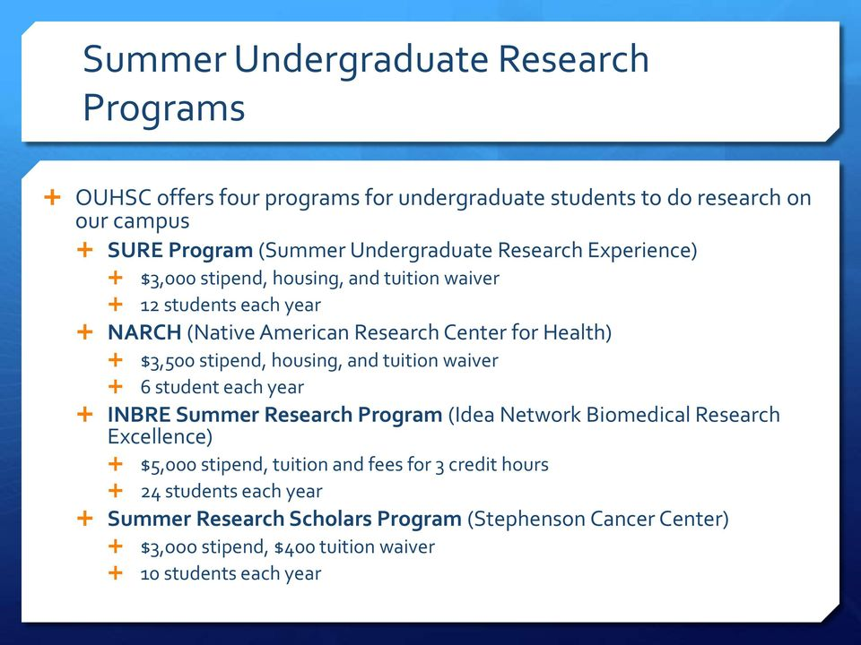 housing, and tuition waiver 6 student each year INBRE Summer Research Program (Idea Network Biomedical Research Excellence) $5,000 stipend, tuition and fees