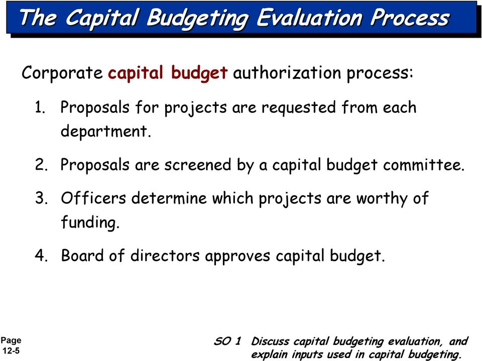 Proposals are screened by a capital budget committee. 3.
