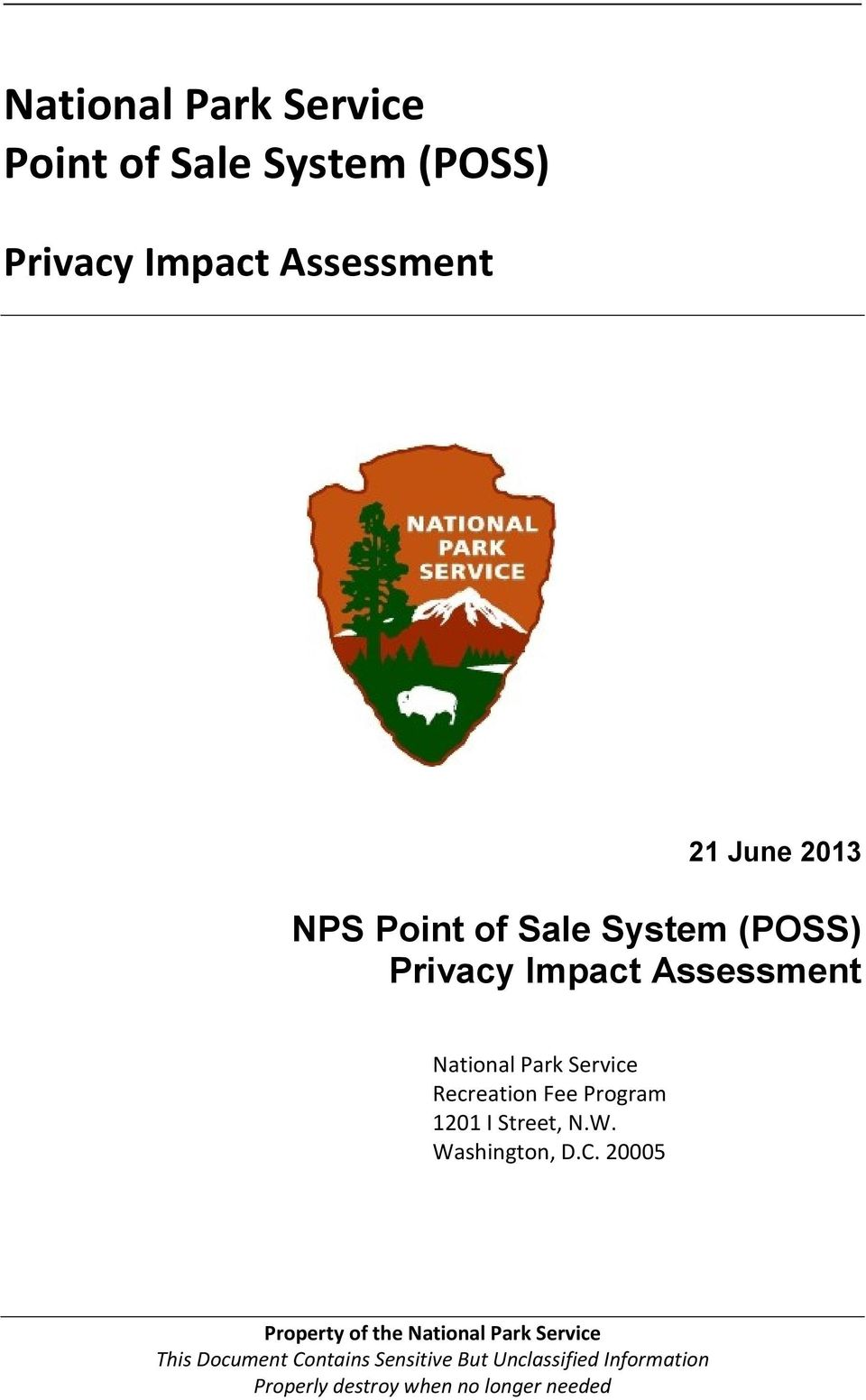 (POSS) Privacy Impact Assessment National Park Service