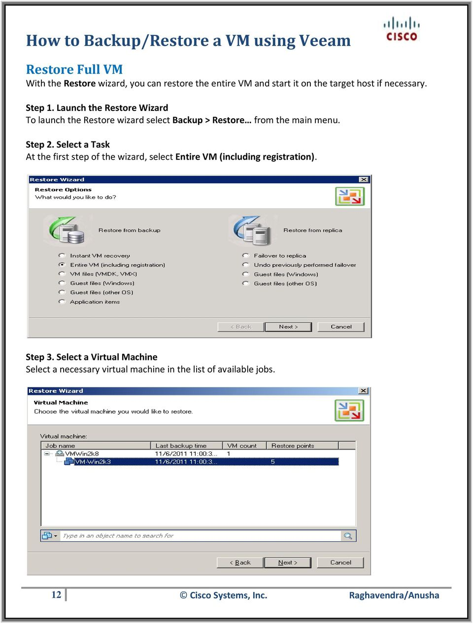 Select a Task At the first step of the wizard, select Entire VM (including registration). Step 3.