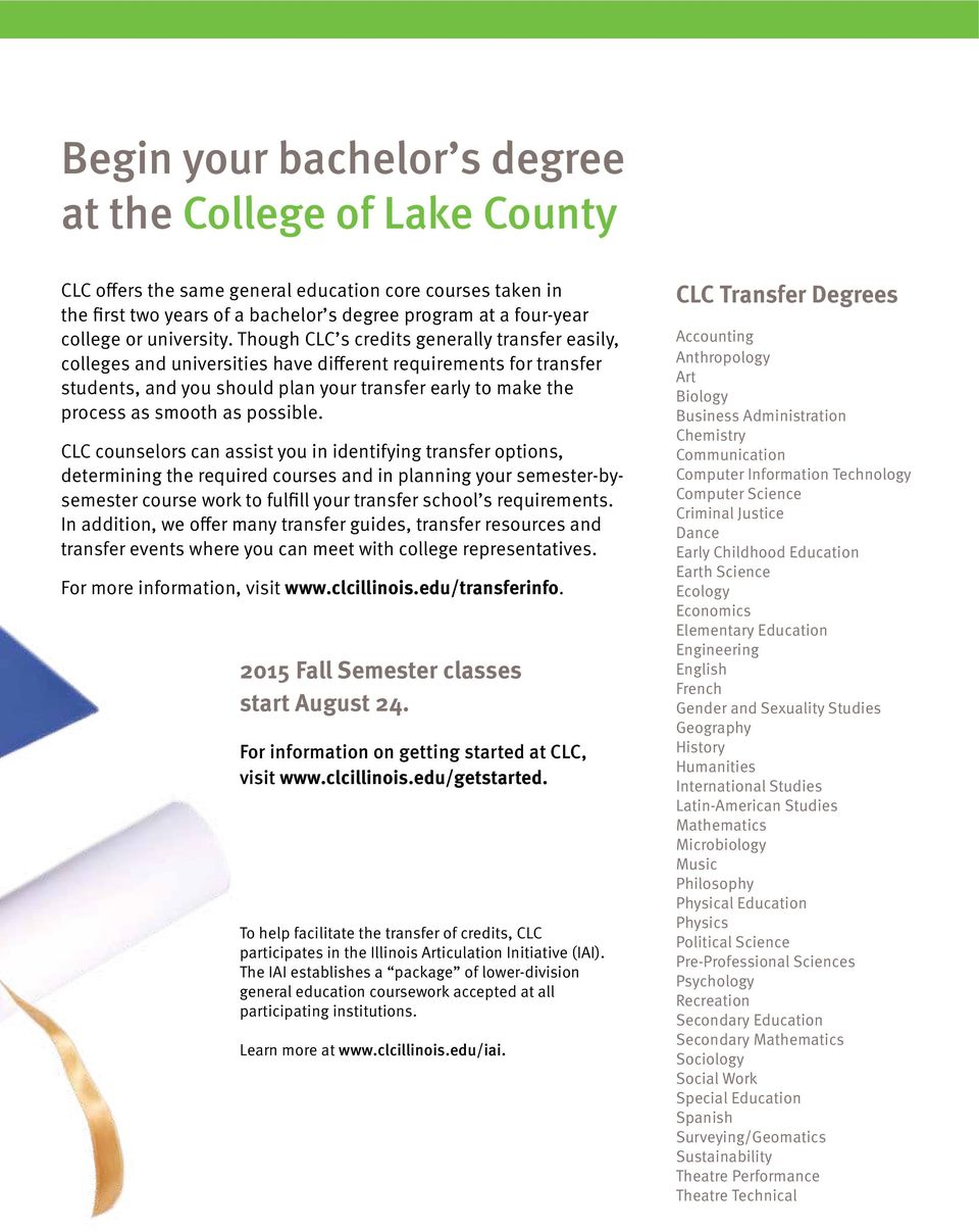 Though CLC s credits generally transfer easily, colleges and universities have different requirements for transfer students, and you should plan your transfer early to make the process as smooth as