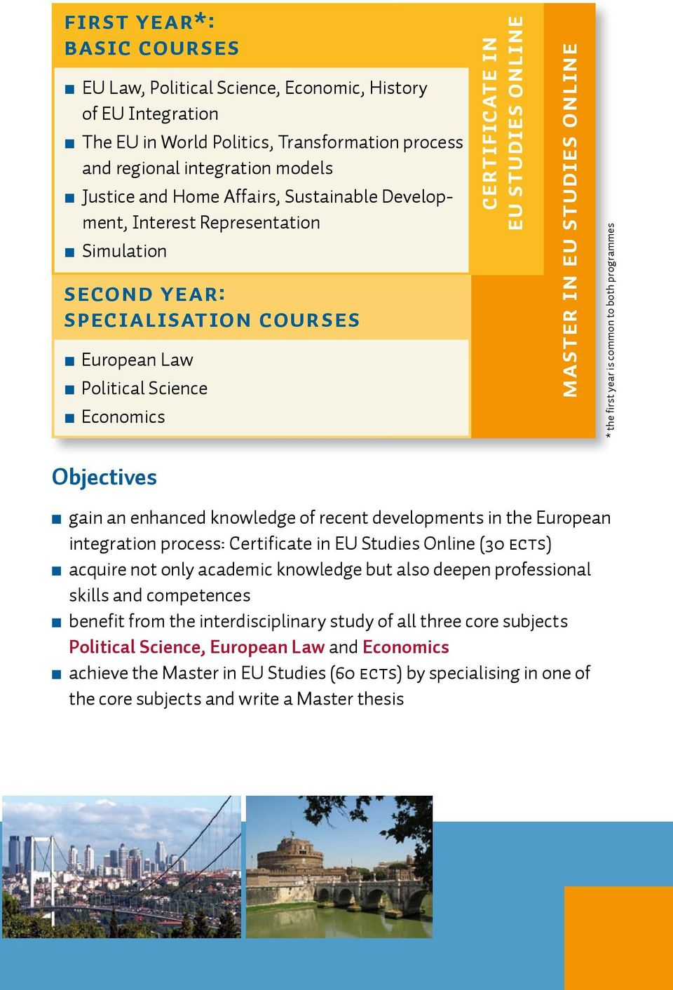 master in eu studies ONLINE * the first year is common to both programmes n gain an enhanced knowledge of recent developments in the European integration process: Certificate in EU Studies Online (30