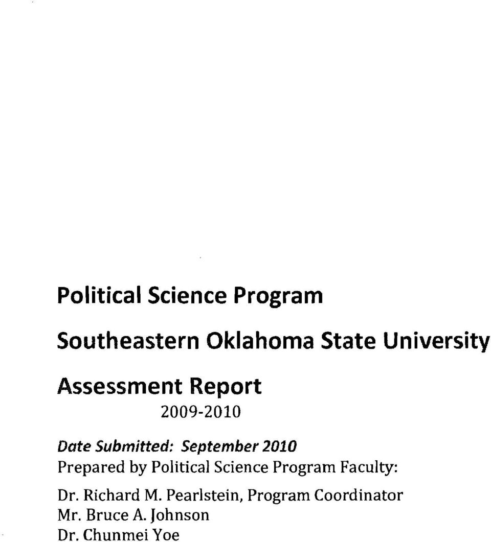 September 2010 Prepared by Political Science Program Faculty: