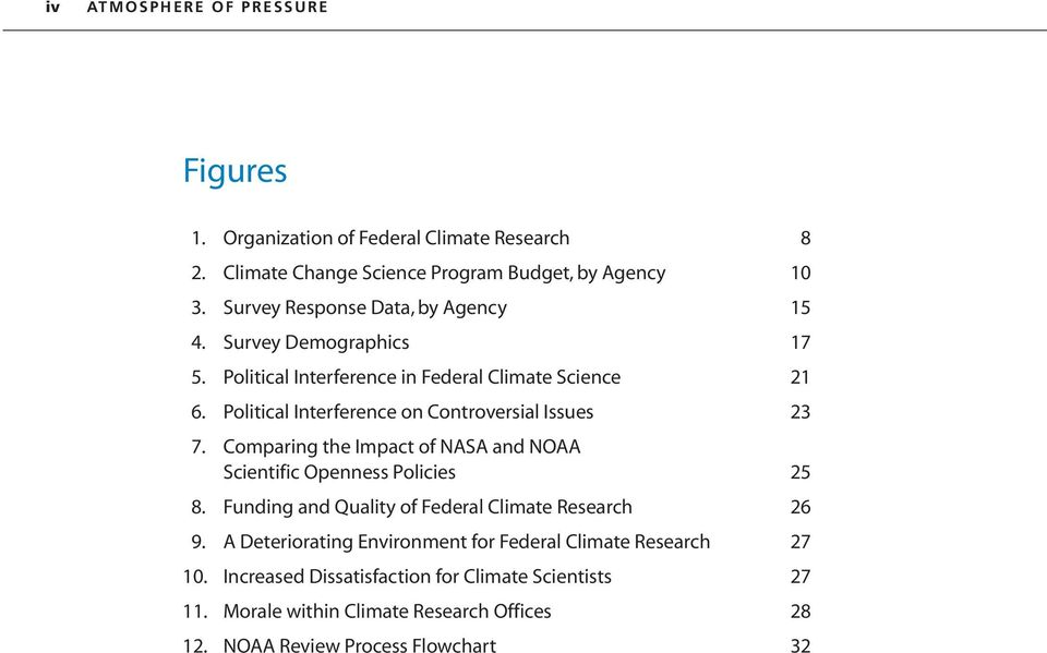 Political Interference on Controversial Issues. Comparing the Impact of NASA and NOAA Scientific Openness Policies 5 8.