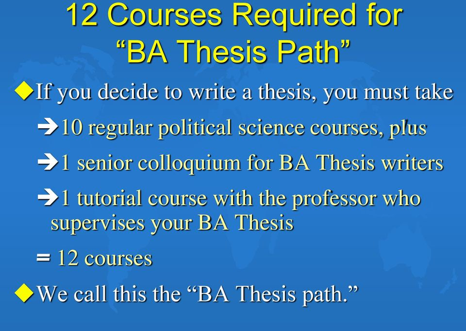 Thesis writers 1 tutorial course with the professor who supervises