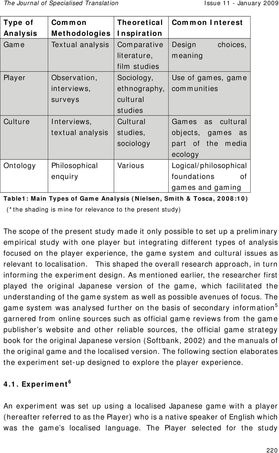 cultural objects, games as part of the media ecology Logical/philosophical foundations of games and gaming Table1: Main Types of Game Analysis (Nielsen, Smith & Tosca, 2008:10) (*the shading is mine