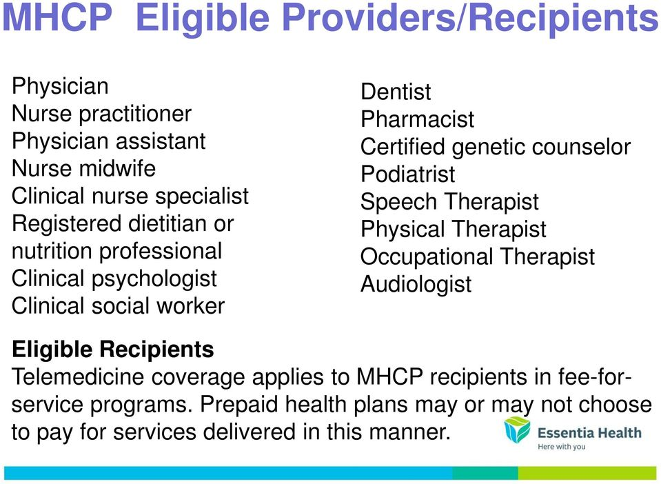 counselor Podiatrist Speech Therapist Physical Therapist Occupational Therapist Audiologist Eligible Recipients Telemedicine