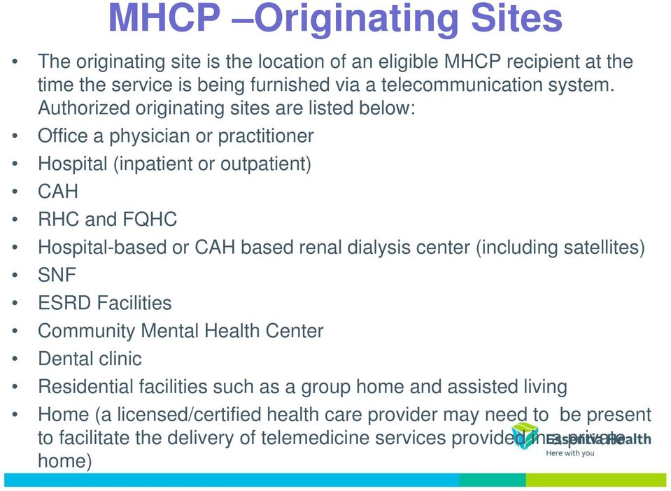 Authorized originating sites are listed below: Office a physician or practitioner Hospital (inpatient or outpatient) CAH RHC and FQHC Hospital-based or CAH based