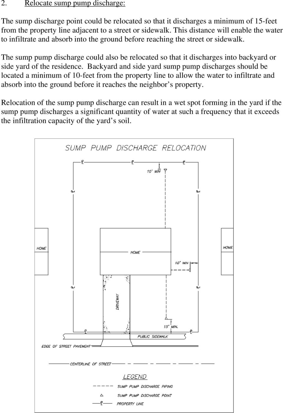 The sump pump discharge could also be relocated so that it discharges into backyard or side yard of the residence.