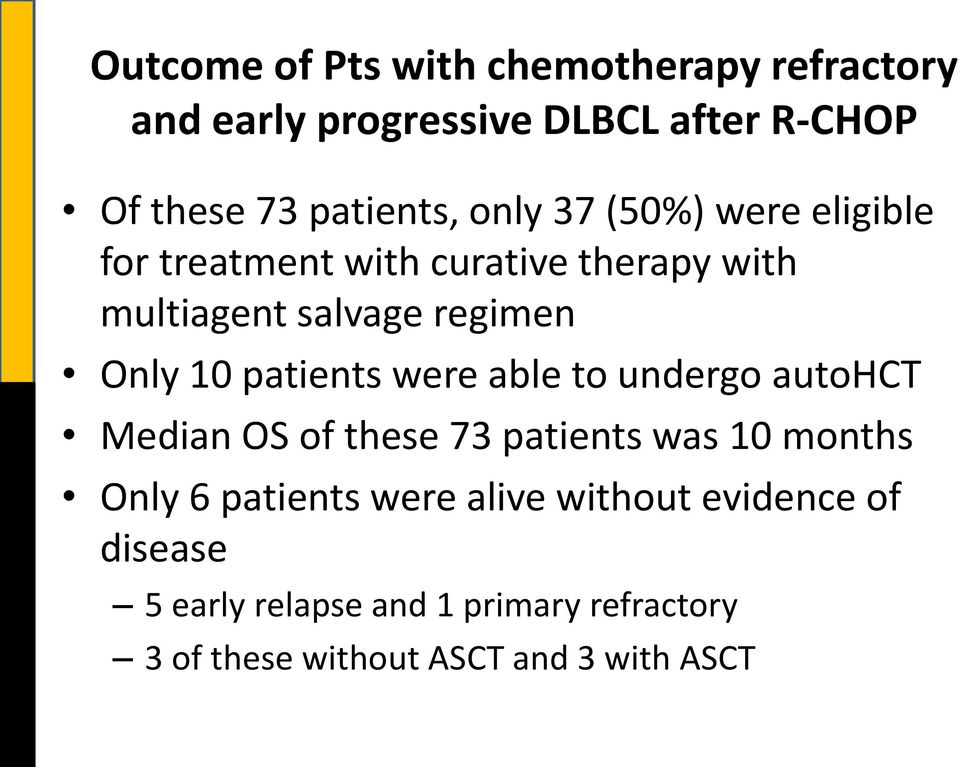 patients were able to undergo autohct Median OS of these 73 patients was 10 months Only 6 patients were