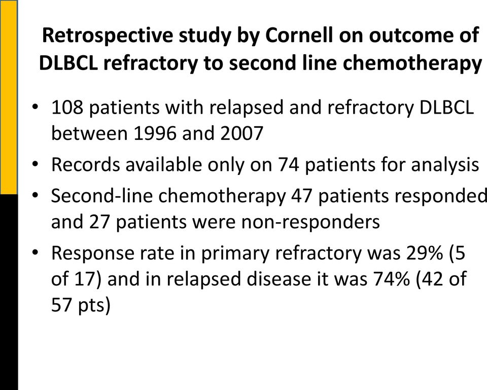 patients for analysis Second-line chemotherapy 47 patients responded and 27 patients were