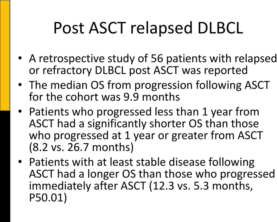 9 months Patients who progressed less than 1 year from ASCT had a significantly shorter OS than those who progressed at 1