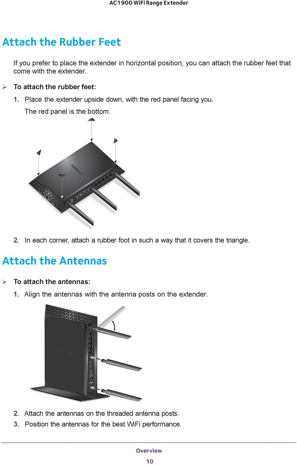 In each corner, attach a rubber foot in such a way that it covers the triangle. Attach the Antennas To attach the antennas: 1.