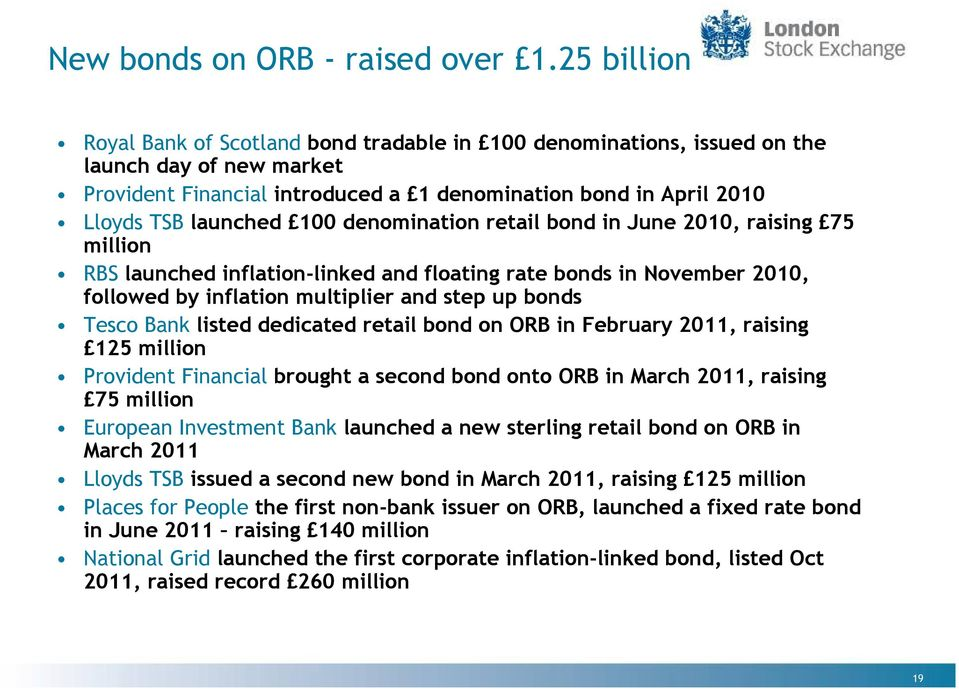 denomination retail bond in June 2010, raising 75 million RBS launched inflation-linked and floating rate bonds in November 2010, followed by inflation multiplier and step up bonds Tesco Bank listed