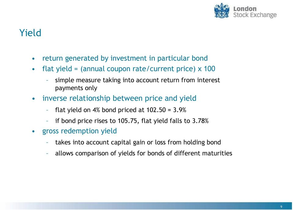 yield on 4% bond priced at 102.50 = 3.9% if bond price rises to 105.75, flat yield falls to 3.