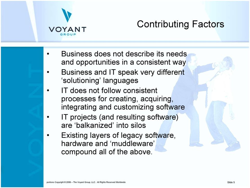 customizing software IT projects (and resulting software) are balkanized into silos Existing layers of legacy software,