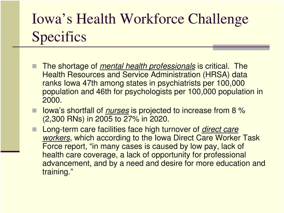 population in 2000. Iowa s shortfall of nurses is projected to increase from 8 % (2,300 RNs) in 2005 to 27% in 2020.
