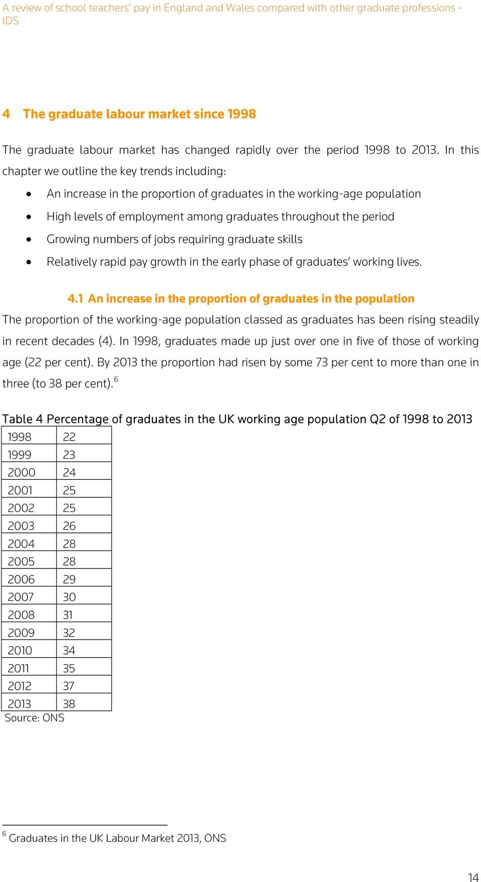 numbers of jobs requiring graduate skills Relatively rapid pay growth in the early phase of graduates working lives. 4.